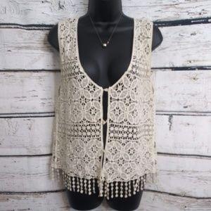 Naber/ Creamy Lace Vest/ Medium-Large